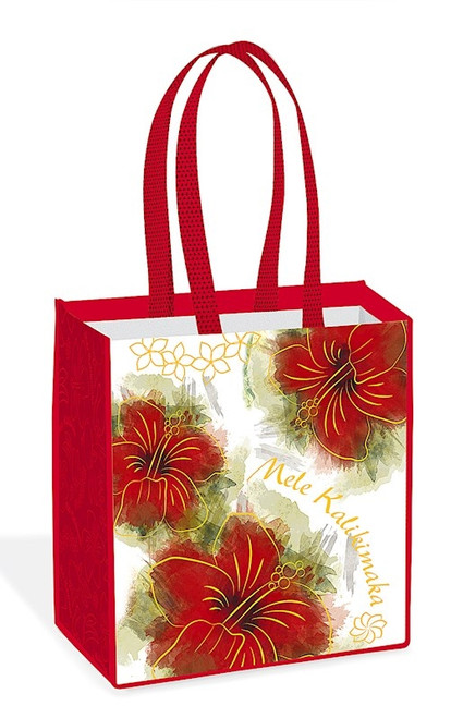 Hawaiian Holiday Reusable Bag in Hibiscus Kalikimaka Design