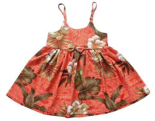 Girl's Rayon Aloha Sundress Aloha patterned tank dress in Brick Floral