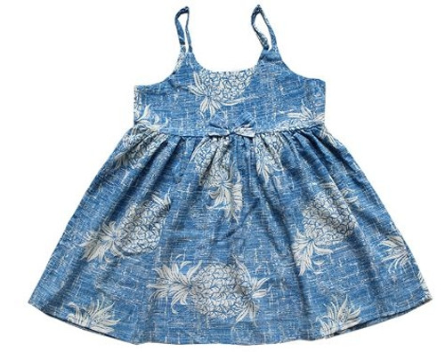 Girl's Rayon Aloha Sundress Aloha patterned tank dress in Vintage Blue Pineapple