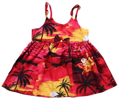 Girl's Rayon Aloha Sundress Aloha patterned tank dress in Red Scenic design