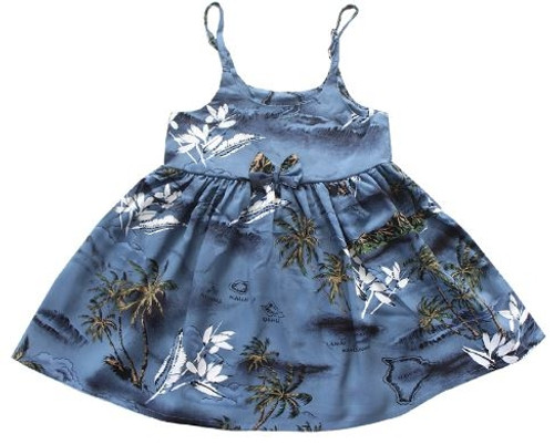 Girl's Rayon Aloha Sundress Aloha patterned tank dress in Blue Surf design
