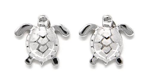 Sterling Silver Earring Stud Solid Sea Turtle
