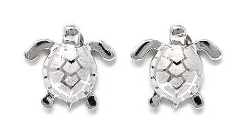 Sterling Silver Earring Stud Solid Sea Turtle
