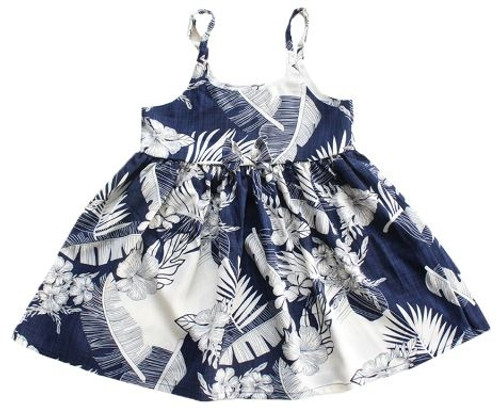 Girl's Rayon Aloha Sundress Aloha patterned tank dress in navy with cream floral design