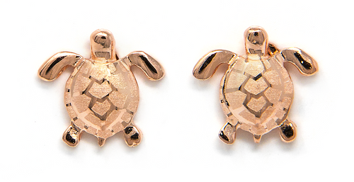 Rose Gold Earring Stud Solid Sea Turtle