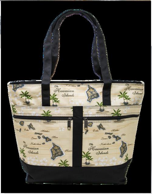 Island Accent Tote Bag in Hawaiian Island Map design