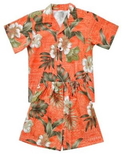 Boy's Aloha Cabana Set with matching Shirt and short in Brick floral style