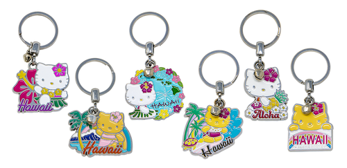 Hello Kitty® Keyrings available in following designs: Hula Hibiscus, Diamond Head, Islands Surf, Aloha and License