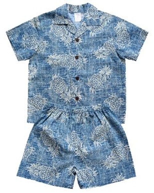 Boy's Aloha Cabana Set with matching Shirt and short in Vintage Blue Pineapple
