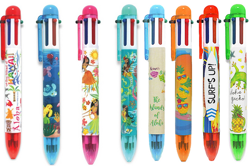 Rainbow Writer Pen. These are  available in the following designs: Hawaiian Adventures, Honu Ohana, Island Hula Honeys, Island Hula Mermaids, Islands of Aloha, Surfing Pineapples, Aloha Surfboards and Aloha Gecko