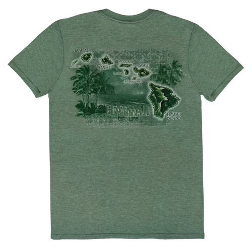 Crew Neck Tee - Palm Map - Green Heather