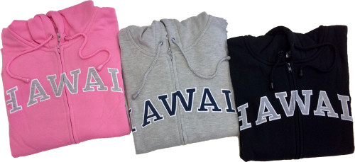 3 Sweatshirt Zip Up Hoodie - Hawaii Logo Design. Available in various colors: Gray, Black, Pink, Blue