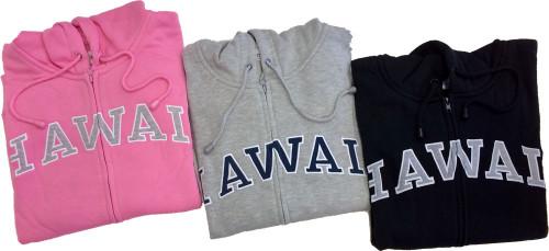 3 Sweatshirt Zip Up Hoodie - Hawaii Logo Design. Available in various colors: Gray, Black, Pink, Blue