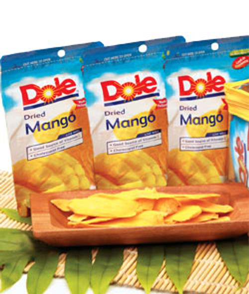 Dole Plantation Dried Mango Pouches showcased behind a monkeypod serving plate of dried mango slices