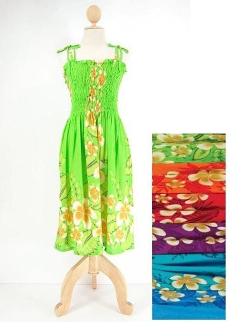 Ladies Short Elastic Tube Dress - Plumerias