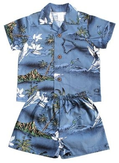 Boy's Aloha Cabana Set with matching Shirt and short in Blue Surf design