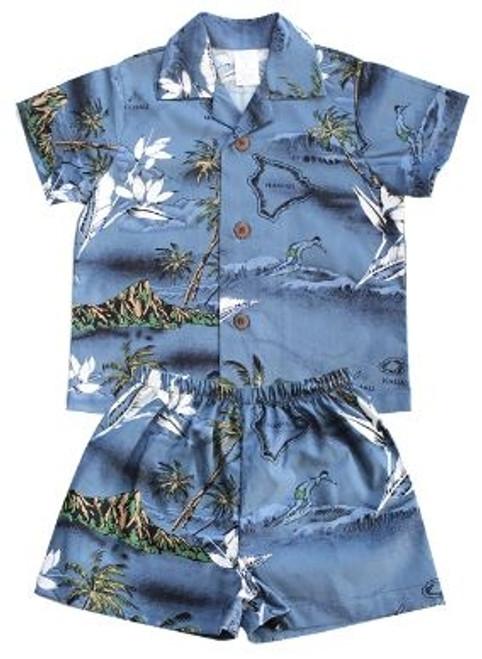 Boy's Aloha Cabana Set with matching Shirt and short in Blue Surf design