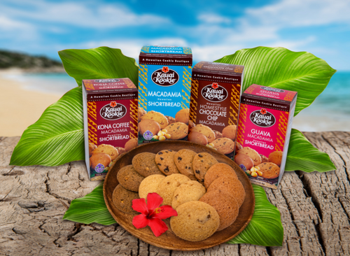 Kauai Kookies Shortbread available in Chocolate Chip, Guava, Kona Coffee, and Macadamia Shortbread flavors
