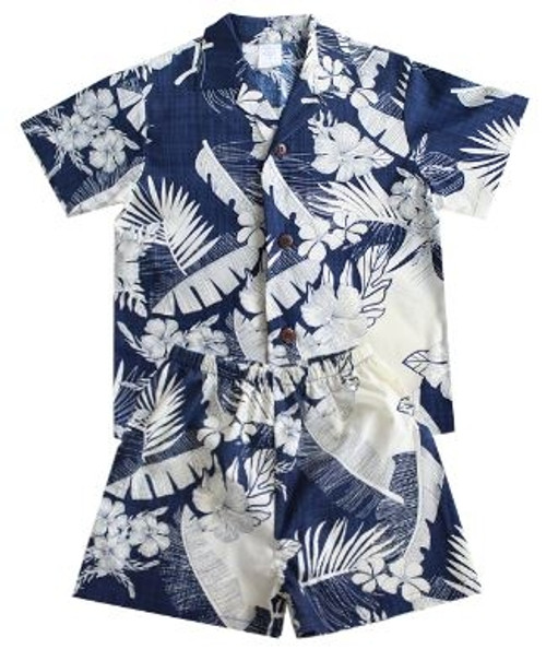 Boy's Aloha Cabana Set with matching Shirt and short in Navy with Cream Floral design