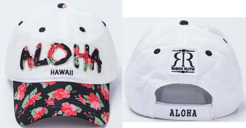 Robin Ruth® Aloha Cap in white color with Red Hibiscus design