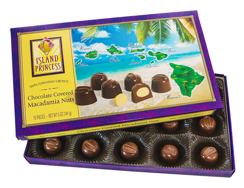 Island Princess Hawaiian Island Chocolate Covered Macadamia Nuts box, slightly opened