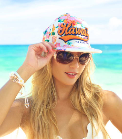 Female model wearing Robin Ruth® Original 3D Hawaii Cap
