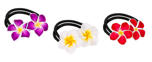 Clay Hair Ties by Olu Olu on display in purple, white, and red. These items are also available in blue and green.