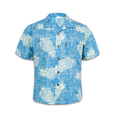 Men's Cotton Aloha Shirt - Vintage Blue Pineapple