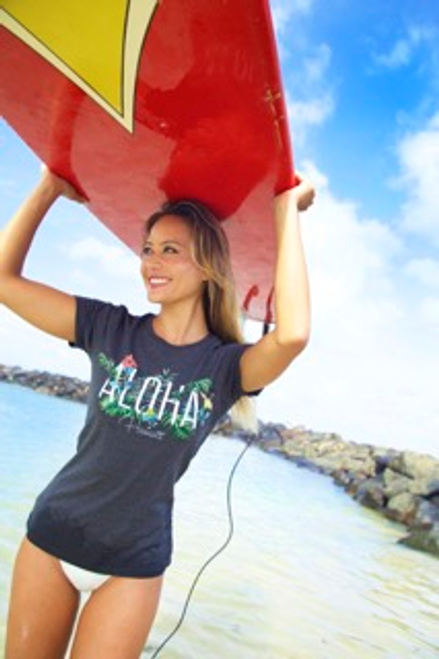 Female model wearing Island Girl® Surf Tee - Garden in Charcoal Heather color