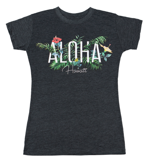 Island Girl® Surf Tee - Garden in Charcoal Heather color