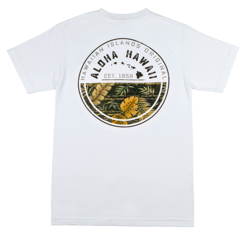 Mens Crew Neck Tee - Tropic - White