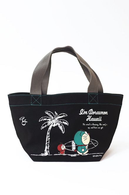 Doraemon®! Cotton canvas tote in Black Surf design that can be used as either a lunch bag or mini tote