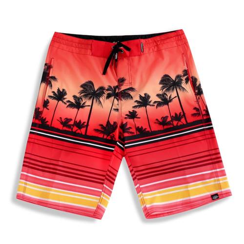 Palmwave Men's Microfiber Board Shorts - Red Scenery