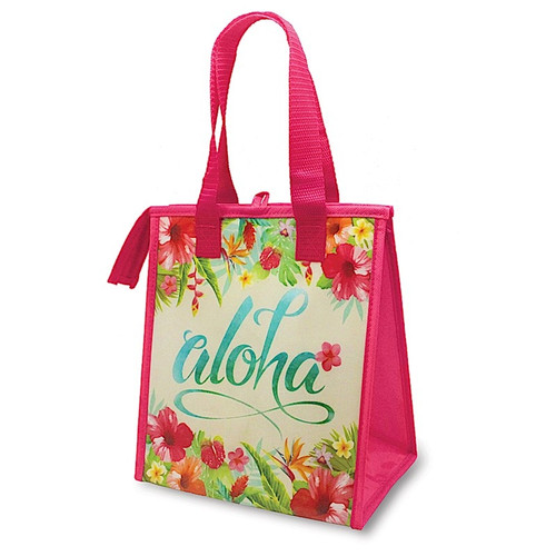 Insulated Lunch Bag in Aloha Floral in red color