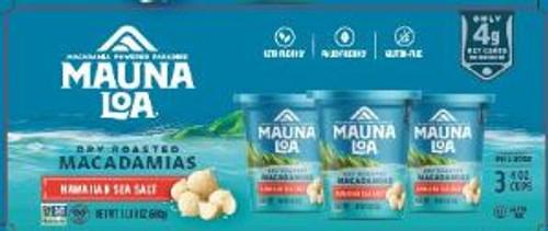 Mauna Loa Dry Roasted w/ Sea Salt Macadamia 3 pack box which has a bowl of Dry Roasted w/ Sea Salt Macadamias and images of six cups of Dry Roasted w/ Sea Salt Macadamias