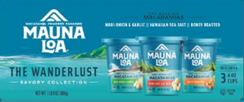 Mauna Loa Wanderlust Macadamia Nuts Gift Set of Three - Savory Collection which has a bowl of Assorted types of Macadamias and images of three cups of Macadamias: 1 Dry Roasted, 1 Honey Roasted, and 1 Maui Onion Garlic