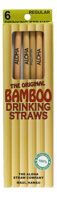 A pack of 6 Bamboo Drinking straws in Regular 8 inches length