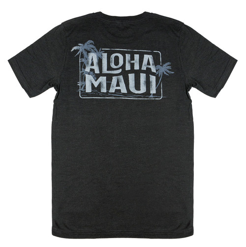 Vintage Dyed Tee - Beach MAUI in Black Heather color