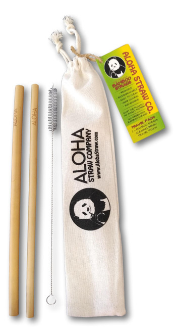Two Bamboo Straws with a cleaning brush along a storage bag