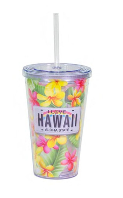 Hawaiian Thermo Tumbler with Straw in Plumeria License design