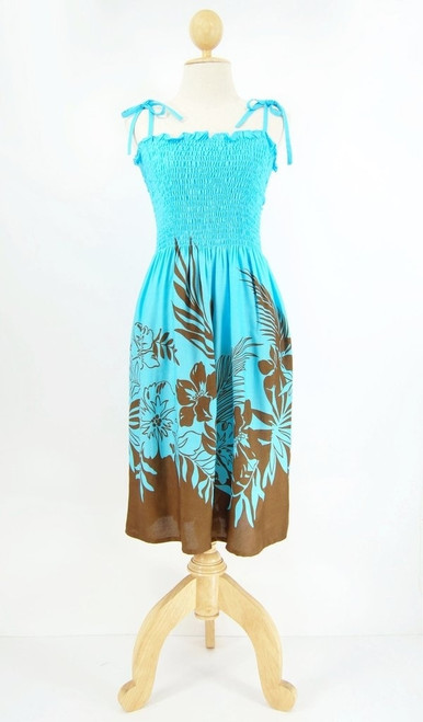 Ladies Short Elastic Tube Dress in Blue and Brown Border