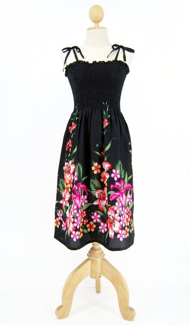 Ladies Short Elastic Tube Dress in Floral Mix Black