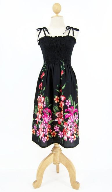 Ladies Short Elastic Tube Dress in Floral Mix Black
