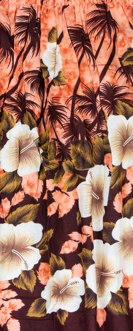 Aloha Sarong - Hibiscus Palm in Orange Color