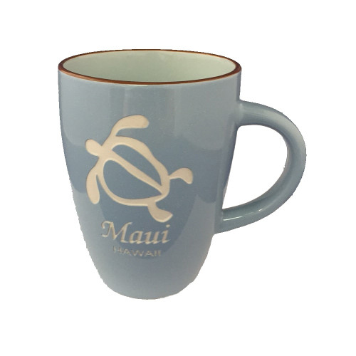 Maui Island Collection Mugs in Light Blue Color in honu design