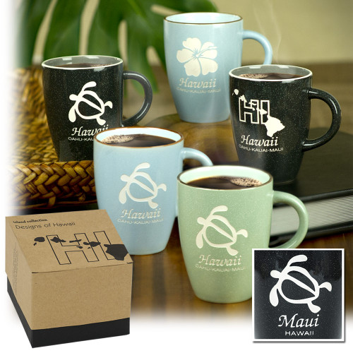 Hawaiian Island Collection Mugs. These 11 oz mugs are high quality, deep etched ceramic mugs with a rich and sophisticated feel. Available in an assortment of colors and hawaii theme designs.