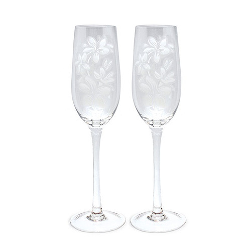 Etched Glassware - Champagne Flute Set etched in an elegant in plumeria design