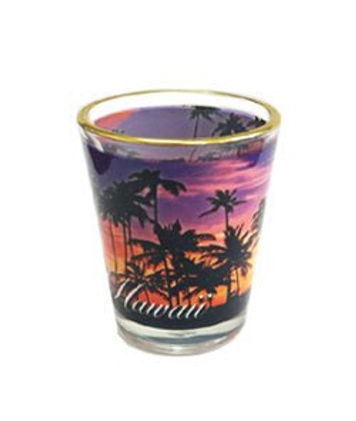 Gold Rim Shotglass available in an Assortment of Designs. Featured here in Hawaii Sunset design.