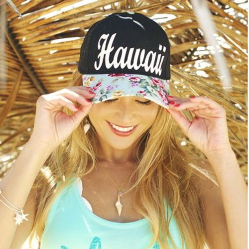 Robin Ruth® Original 3D Hawaii Cap - black colored cap with blue floral brim and Hawaii etched in white color