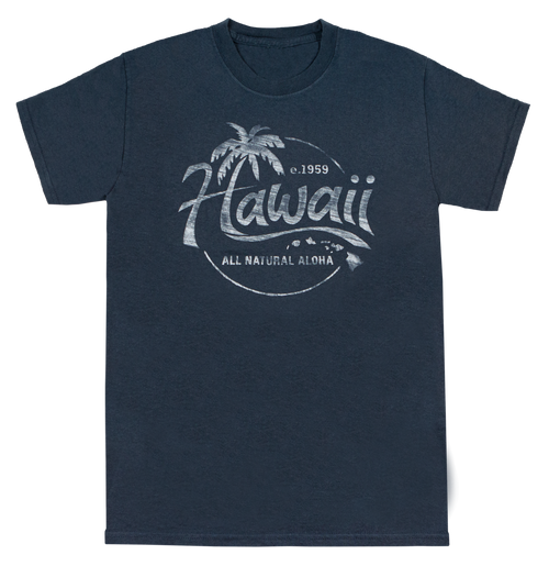 Vintage Dyed Tees - Natural Aloha in blue color